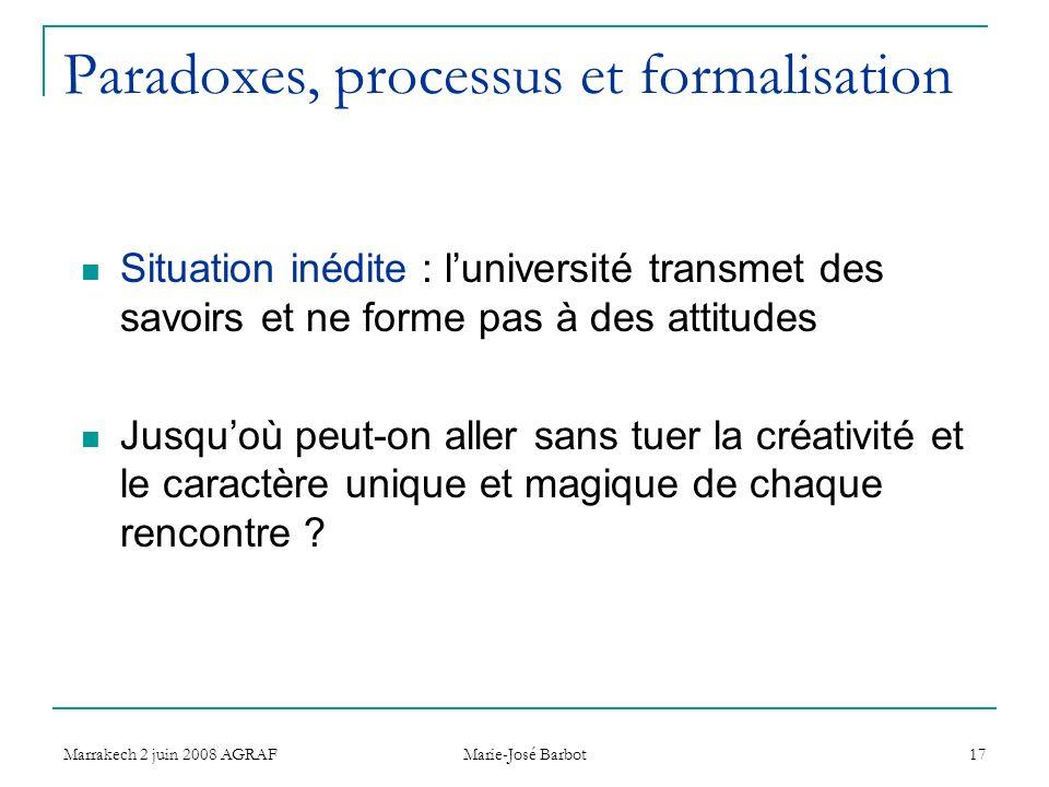 Marrakech 2 juin 2008 AGRAF Marie-José Barbot 17 Paradoxes, processus et formalisation Situation inédite : luniversité transmet des savoirs et ne form