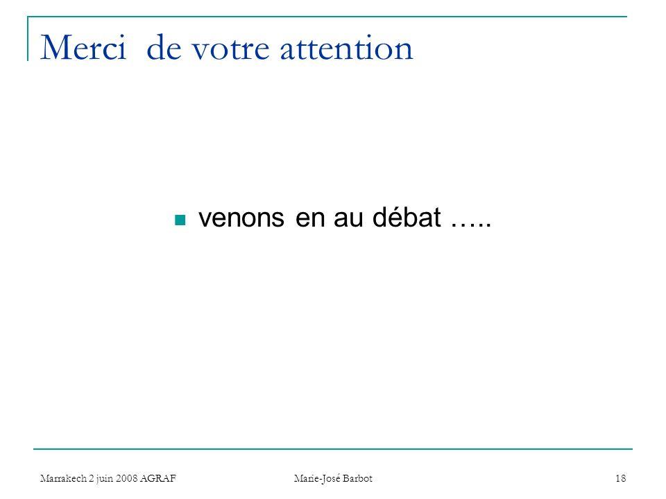 Marrakech 2 juin 2008 AGRAF Marie-José Barbot 18 Merci de votre attention venons en au débat …..