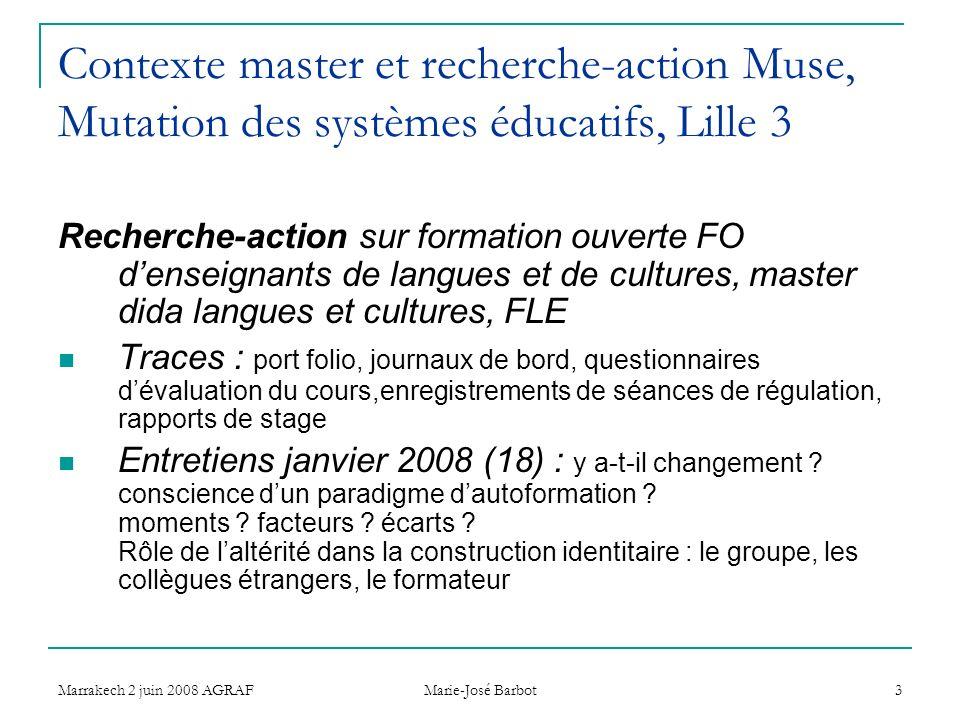 Marrakech 2 juin 2008 AGRAF Marie-José Barbot 3 Contexte master et recherche-action Muse, Mutation des systèmes éducatifs, Lille 3 Recherche-action su