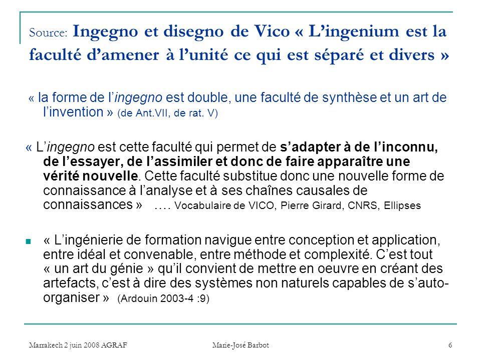 Marrakech 2 juin 2008 AGRAF Marie-José Barbot 6 Source: Ingegno et disegno de Vico « Lingenium est la faculté damener à lunité ce qui est séparé et divers » « la forme de lingegno est double, une faculté de synthèse et un art de linvention » (de Ant.VII, de rat.