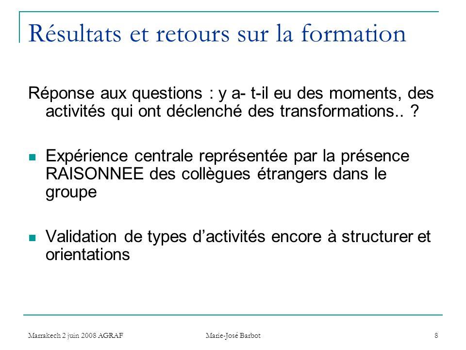 Marrakech 2 juin 2008 AGRAF Marie-José Barbot 8 Résultats et retours sur la formation Réponse aux questions : y a- t-il eu des moments, des activités qui ont déclenché des transformations..