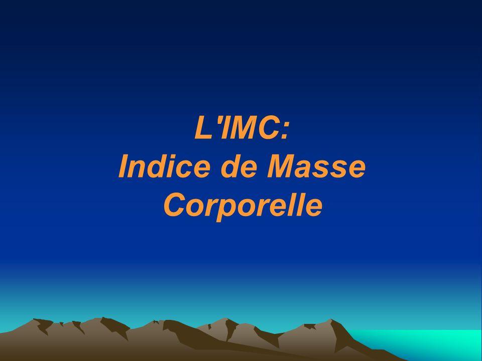 L IMC: Indice de Masse Corporelle
