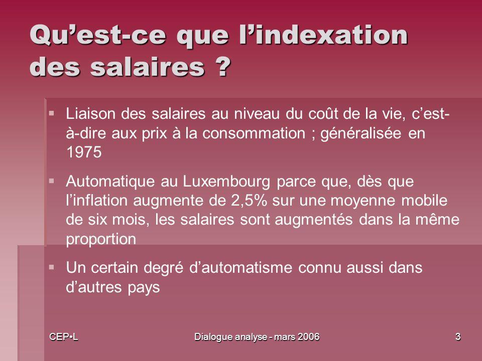 CEPLDialogue analyse - mars 20063 Quest-ce que lindexation des salaires .