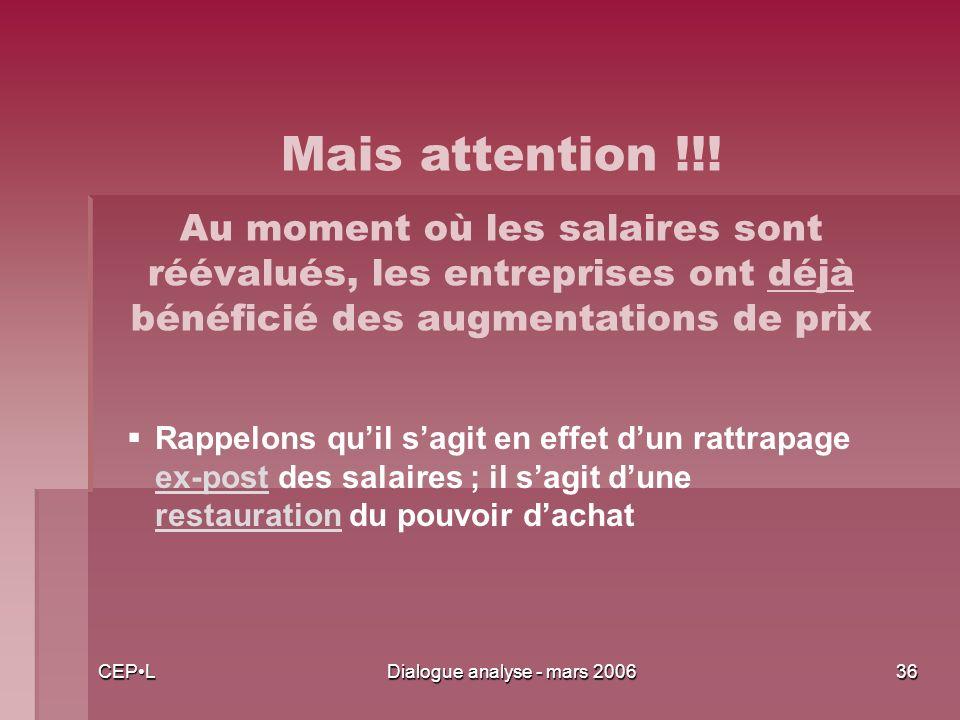 CEPLDialogue analyse - mars 200636 Rappelons quil sagit en effet dun rattrapage ex-post des salaires ; il sagit dune restauration du pouvoir dachat Mais attention !!.