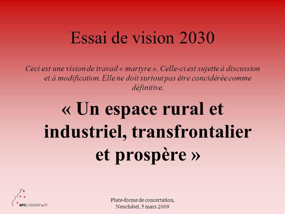 Plate-forme de concertation, Neuchâtel, 5 mars 2009 Essai de vision 2030 Ceci est une vision de travail « martyre ». Celle-ci est sujette à discussion