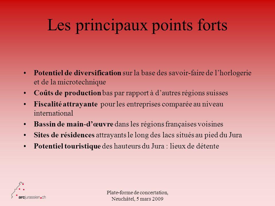 Plate-forme de concertation, Neuchâtel, 5 mars 2009 Les principaux points forts Potentiel de diversification sur la base des savoir-faire de lhorloger