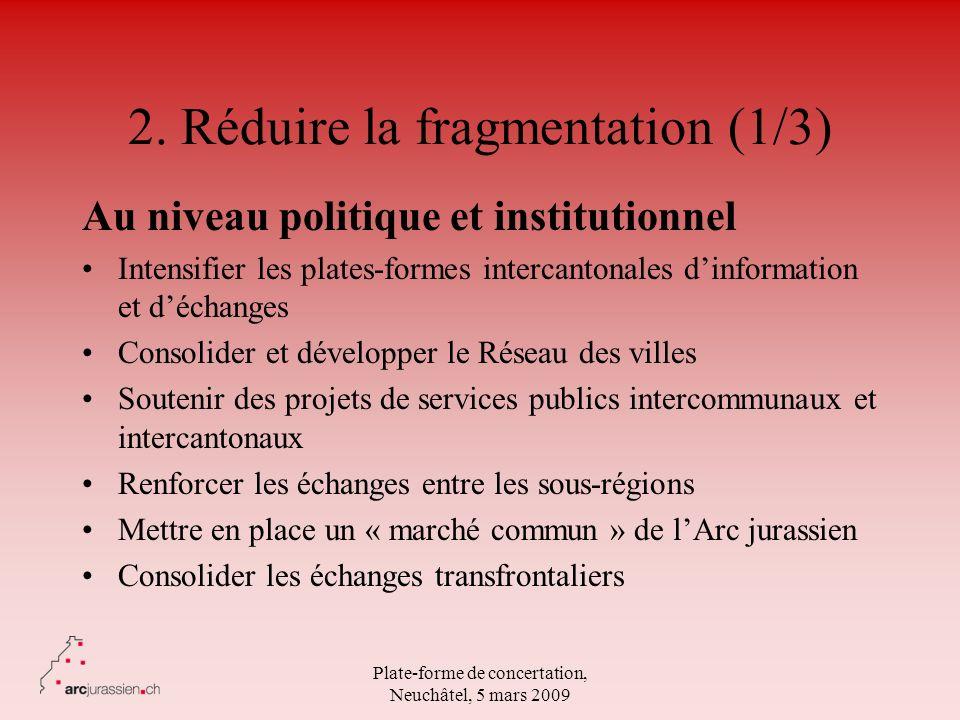 Plate-forme de concertation, Neuchâtel, 5 mars 2009 2. Réduire la fragmentation (1/3) Au niveau politique et institutionnel Intensifier les plates-for