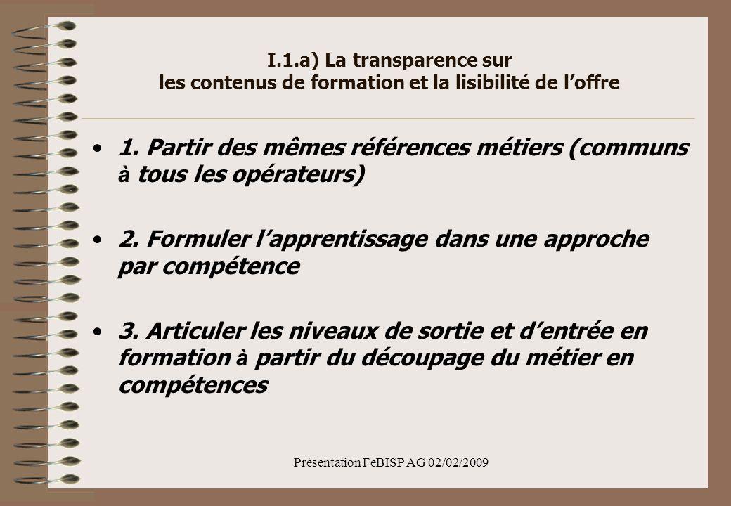 Présentation FeBISP AG 02/02/2009 I.1.a) La transparence sur les contenus de formation et la lisibilité de loffre 1.