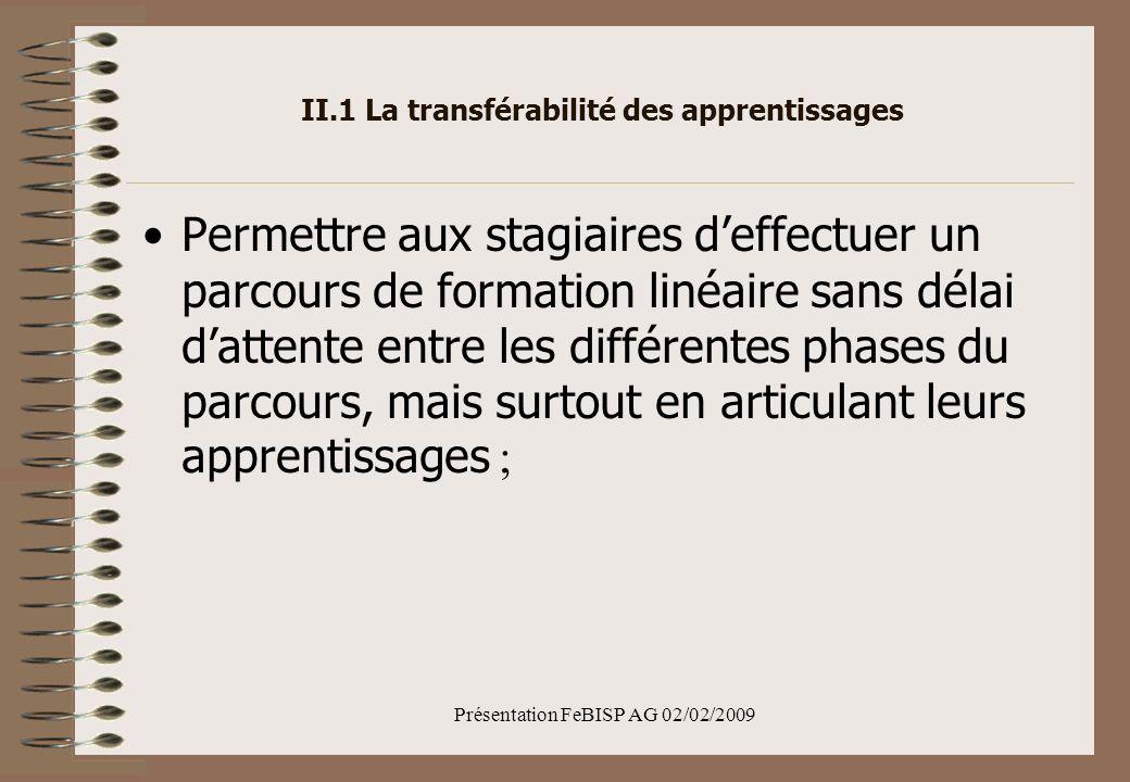 Présentation FeBISP AG 02/02/2009 II.1 La transférabilité des apprentissages Permettre aux stagiaires deffectuer un parcours de formation linéaire sans délai dattente entre les différentes phases du parcours, mais surtout en articulant leurs apprentissages ;