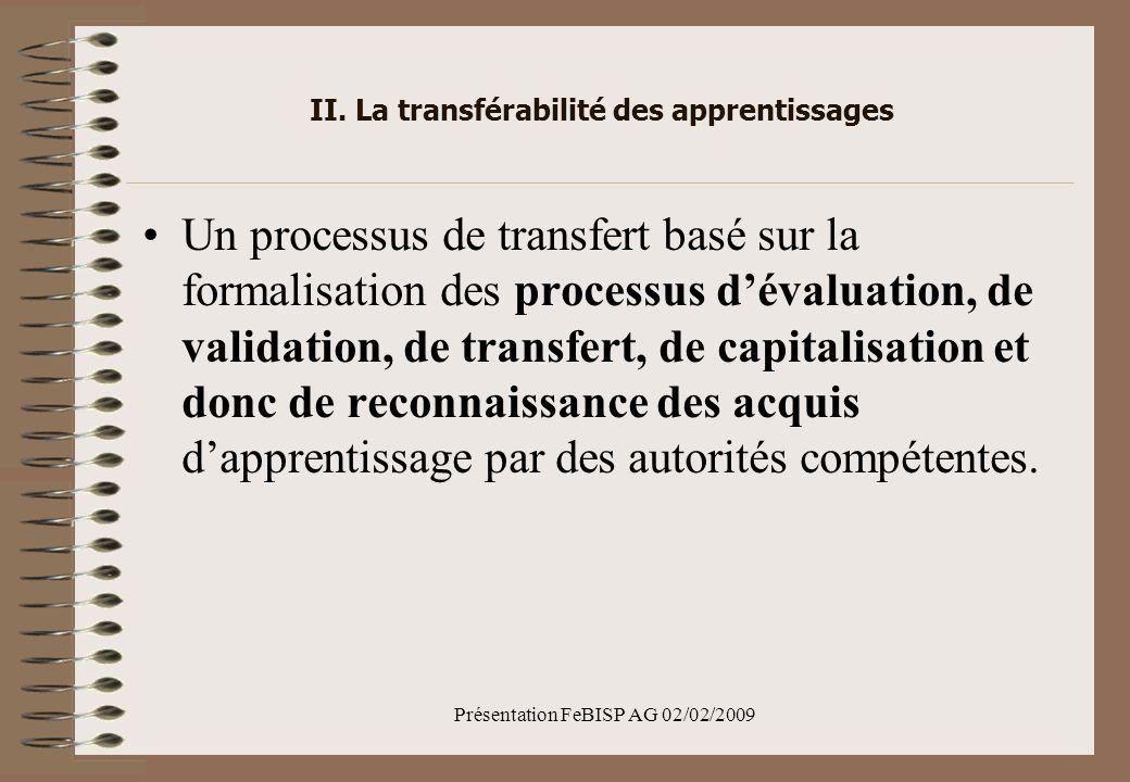 II. La transférabilité des apprentissages Un processus de transfert basé sur la formalisation des processus dévaluation, de validation, de transfert,