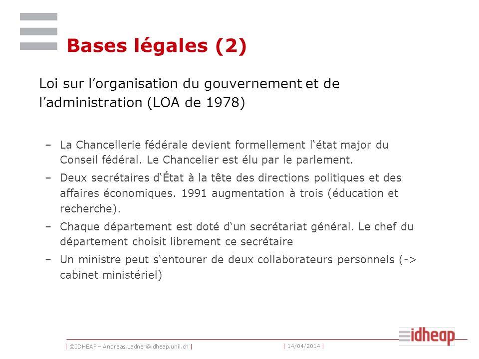 | ©IDHEAP – Andreas.Ladner@idheap.unil.ch | | 14/04/2014 | Bases légales (2) Loi sur lorganisation du gouvernement et de ladministration (LOA de 1978) –La Chancellerie fédérale devient formellement létat major du Conseil fédéral.