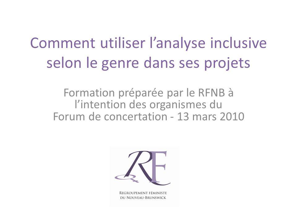 Comment utiliser lanalyse inclusive selon le genre dans ses projets Formation préparée par le RFNB à lintention des organismes du Forum de concertation - 13 mars 2010