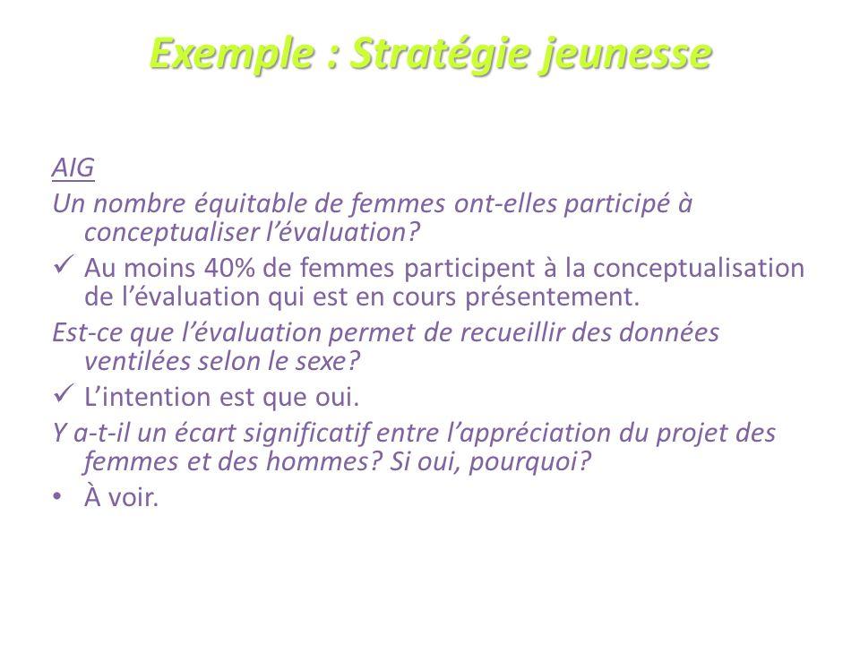 Exemple : Stratégie jeunesse AIG Un nombre équitable de femmes ont-elles participé à conceptualiser lévaluation.