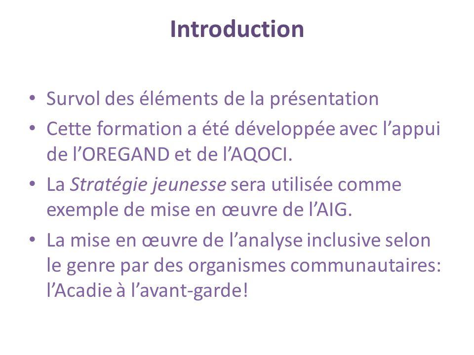 Introduction Survol des éléments de la présentation Cette formation a été développée avec lappui de lOREGAND et de lAQOCI.