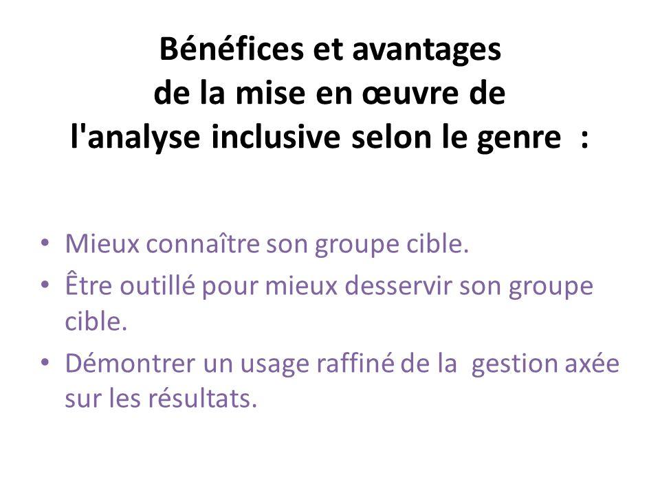 Bénéfices et avantages de la mise en œuvre de l analyse inclusive selon le genre : Mieux connaître son groupe cible.