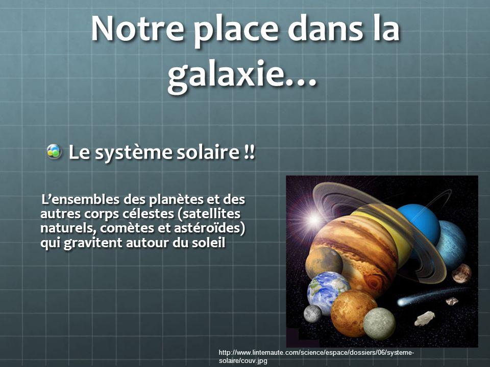 Notre place dans la galaxie… Le système solaire !! Lensembles des planètes et des autres corps célestes (satellites naturels, comètes et astéroïdes) q