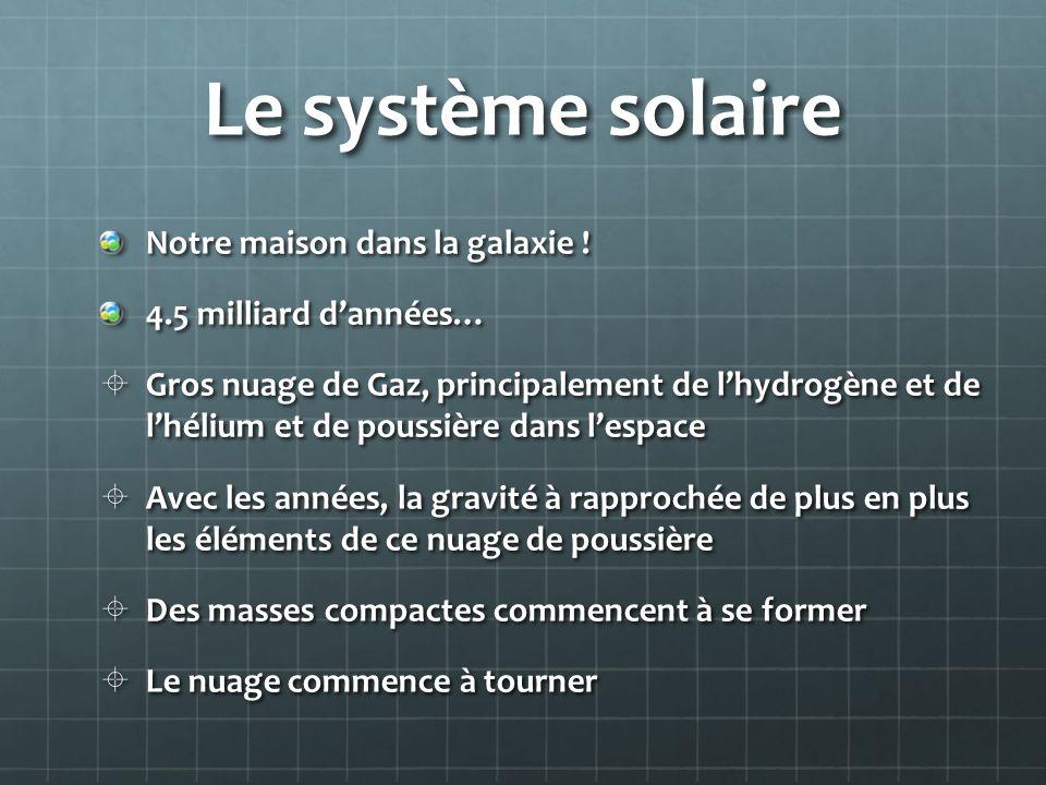 Le système solaire Notre maison dans la galaxie ! 4.5 milliard dannées… Gros nuage de Gaz, principalement de lhydrogène et de lhélium et de poussière