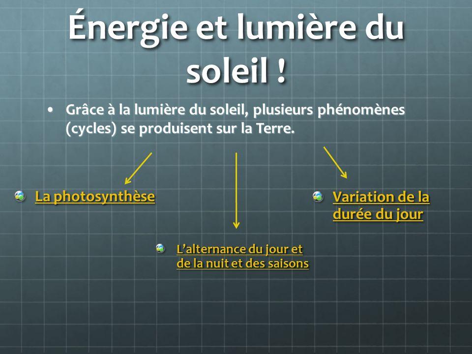 Énergie et lumière du soleil ! Grâce à la lumière du soleil, plusieurs phénomènes (cycles) se produisent sur la Terre.Grâce à la lumière du soleil, pl