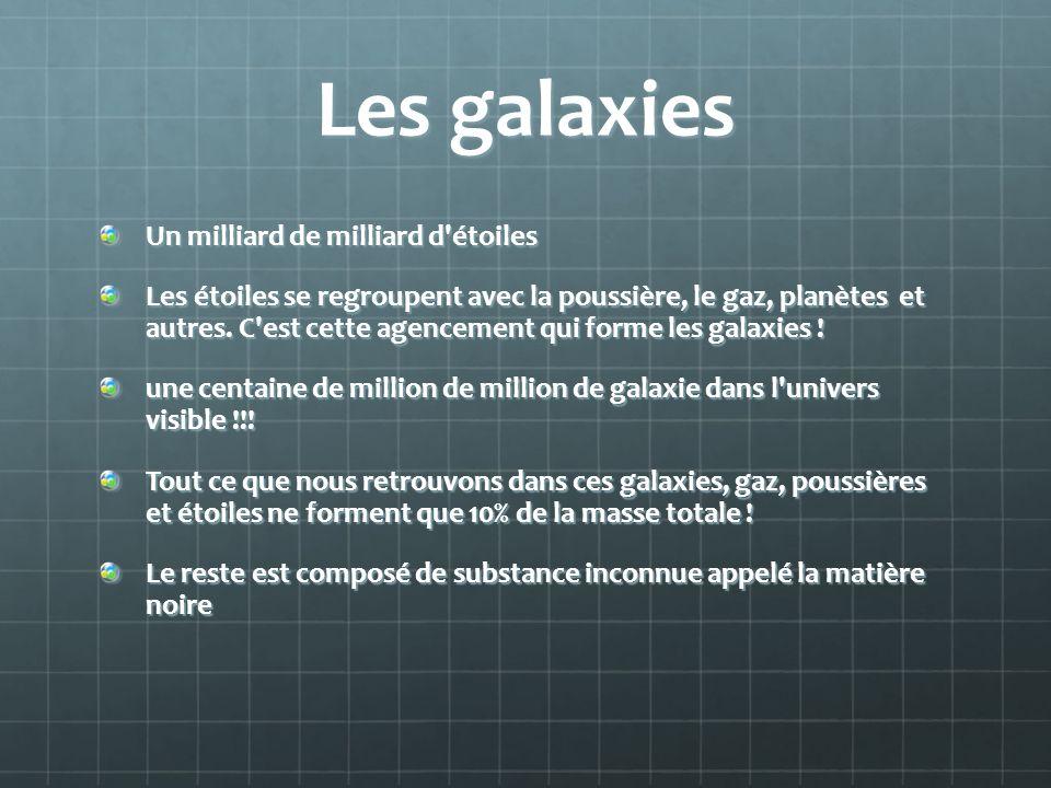Les galaxies Un milliard de milliard d'étoiles Les étoiles se regroupent avec la poussière, le gaz, planètes et autres. C'est cette agencement qui for