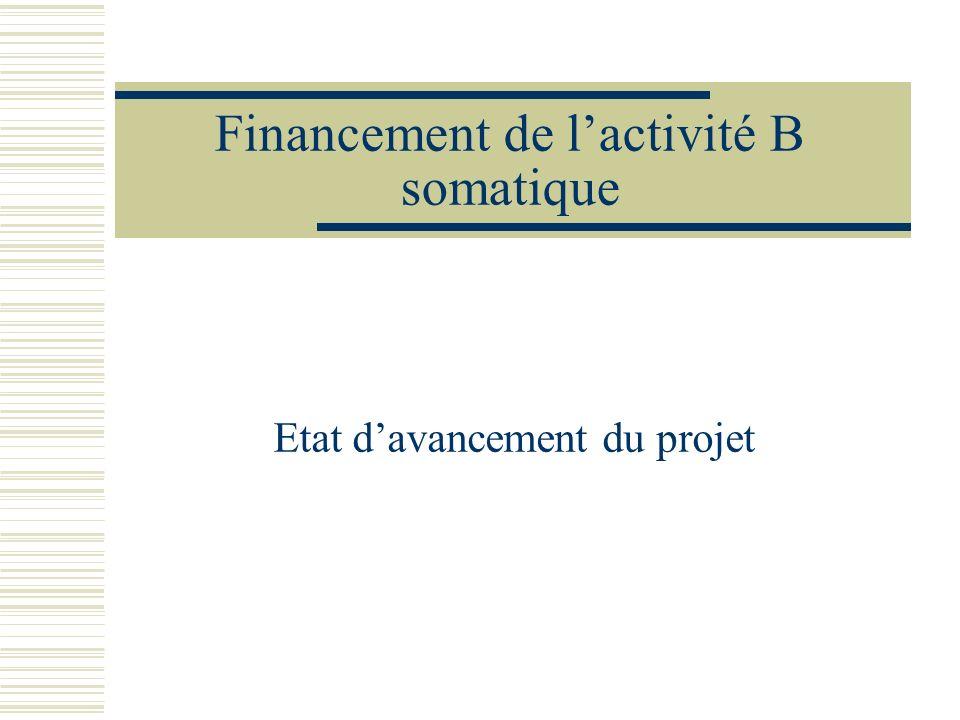 Financement de lactivité B somatique Etat davancement du projet