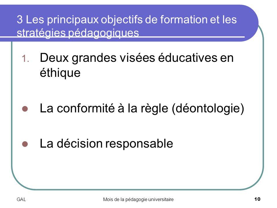GALMois de la pédagogie universitaire10 3 Les principaux objectifs de formation et les stratégies pédagogiques 1.