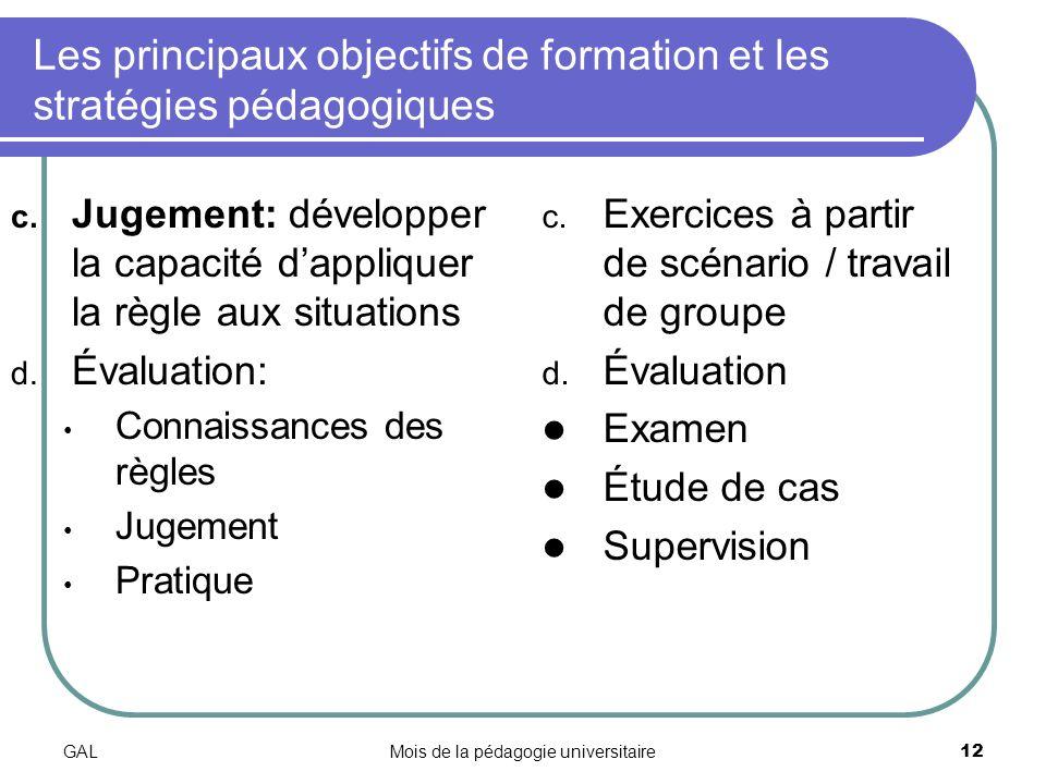 GALMois de la pédagogie universitaire12 Les principaux objectifs de formation et les stratégies pédagogiques c.