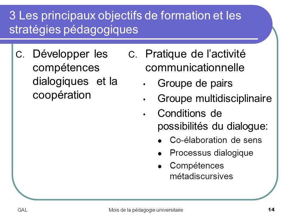 GALMois de la pédagogie universitaire14 3 Les principaux objectifs de formation et les stratégies pédagogiques C.