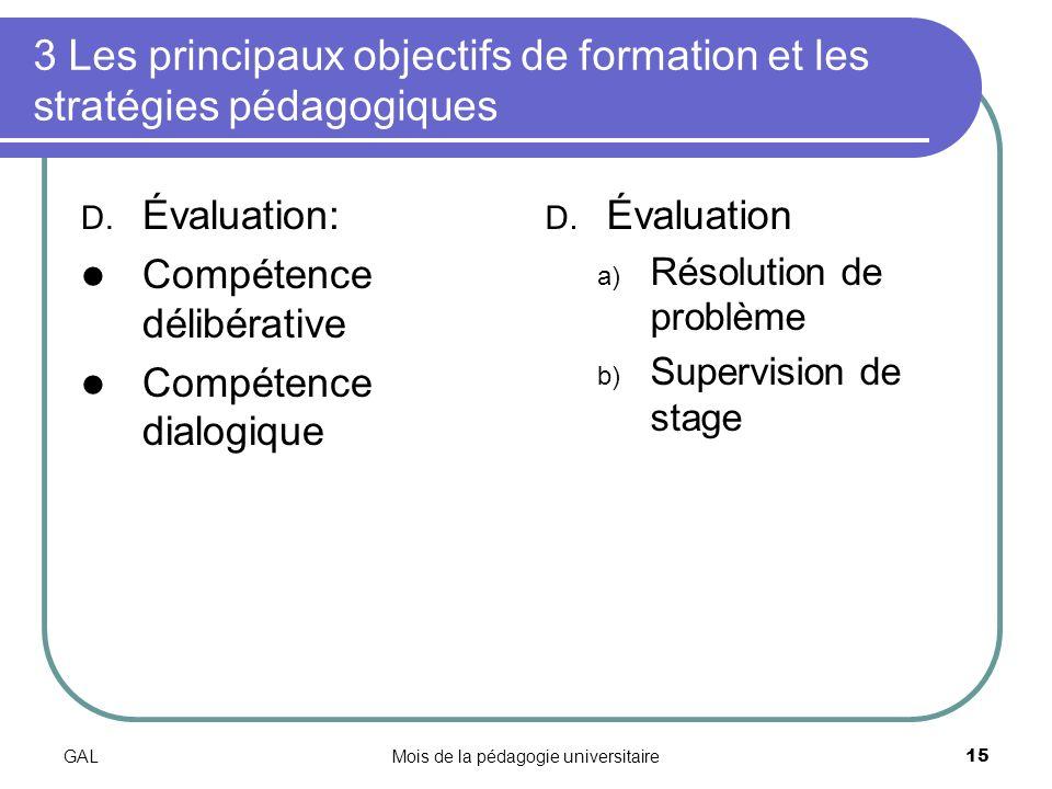GALMois de la pédagogie universitaire15 3 Les principaux objectifs de formation et les stratégies pédagogiques D.
