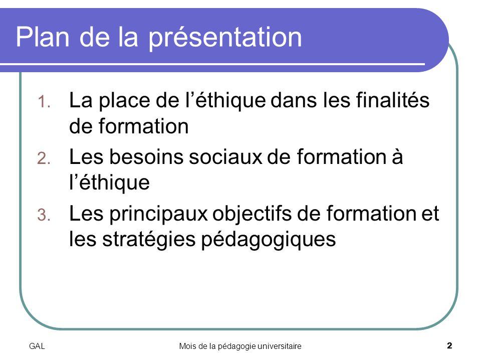 GALMois de la pédagogie universitaire2 Plan de la présentation 1.