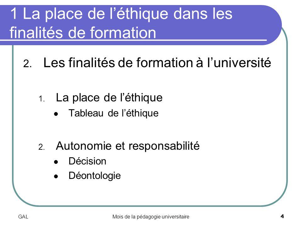 GALMois de la pédagogie universitaire4 1 La place de léthique dans les finalités de formation 2.