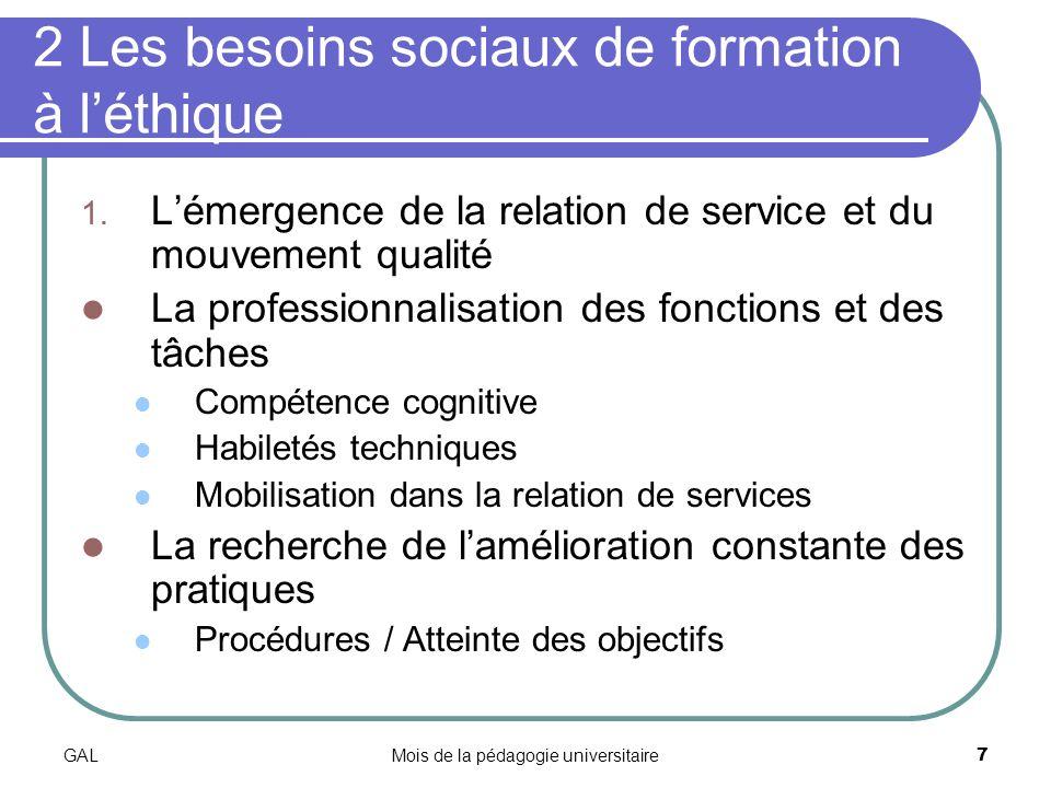 GALMois de la pédagogie universitaire7 2 Les besoins sociaux de formation à léthique 1.