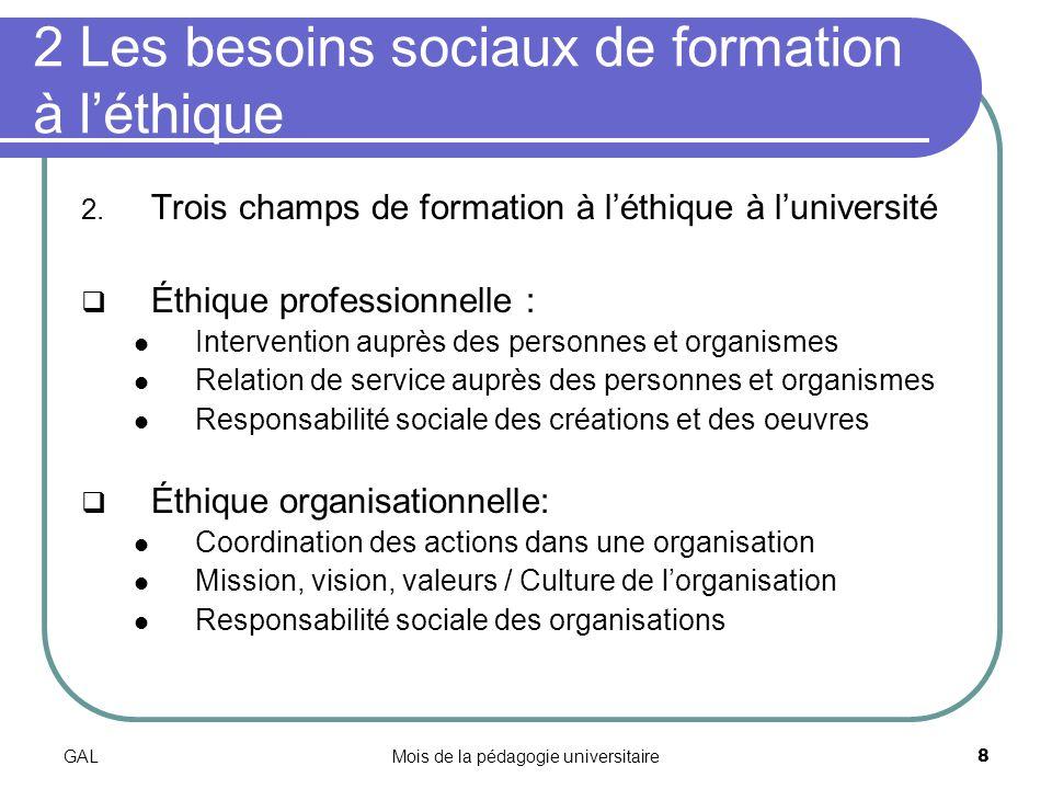 GALMois de la pédagogie universitaire8 2 Les besoins sociaux de formation à léthique 2.