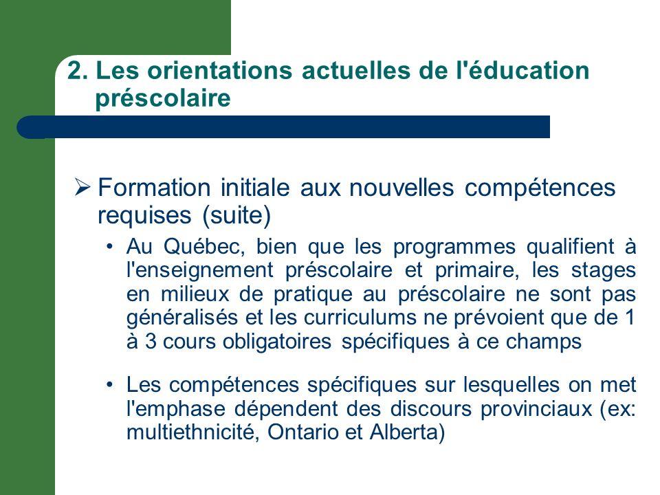 2. Les orientations actuelles de l'éducation préscolaire Formation initiale aux nouvelles compétences requises (suite) Au Québec, bien que les program