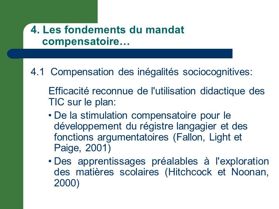 4. Les fondements du mandat compensatoire… 4.1 Compensation des inégalités sociocognitives: Efficacité reconnue de l'utilisation didactique des TIC su