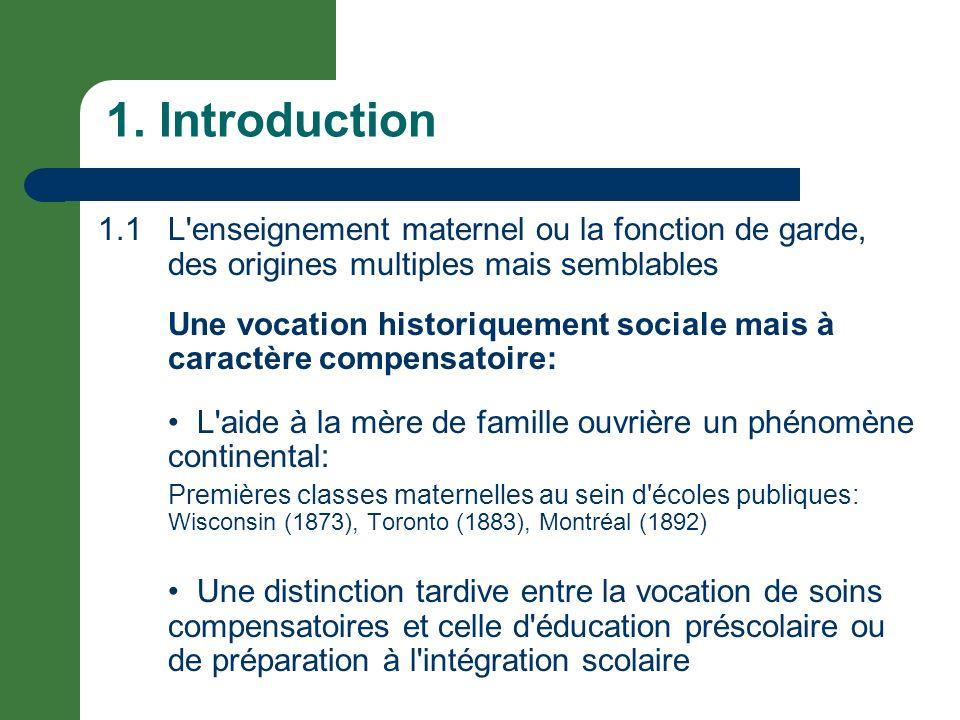 1. Introduction 1.1 L'enseignement maternel ou la fonction de garde, des origines multiples mais semblables Une vocation historiquement sociale mais à