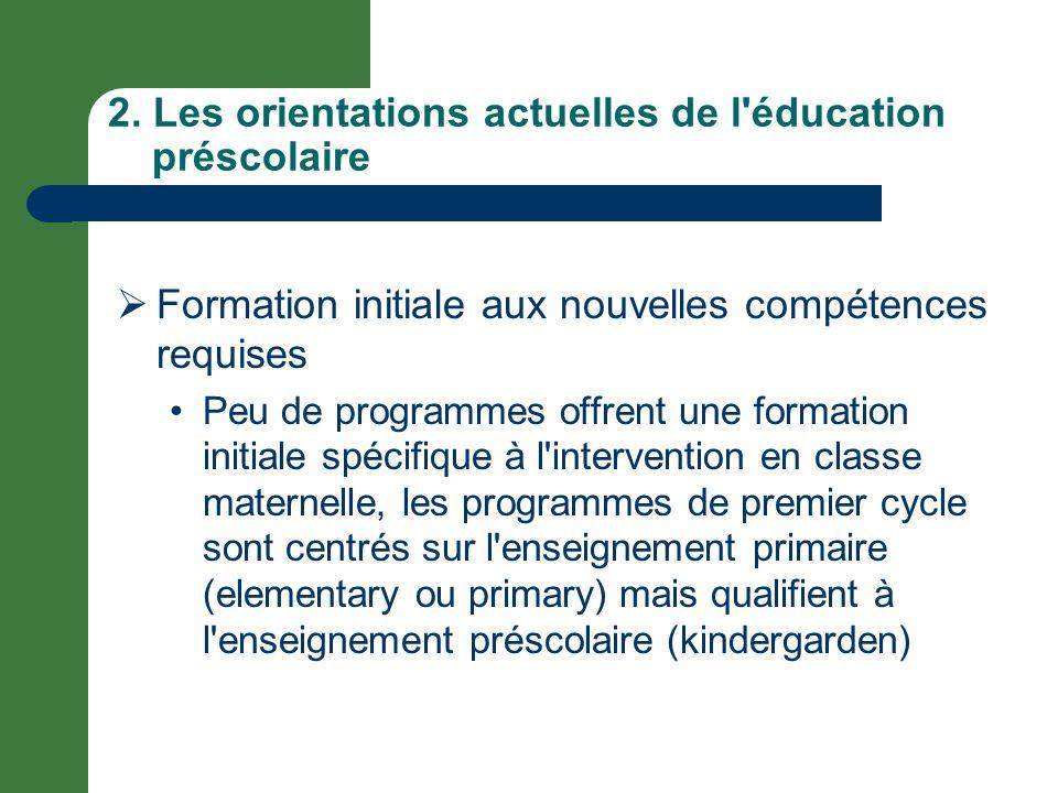 2. Les orientations actuelles de l'éducation préscolaire Formation initiale aux nouvelles compétences requises Peu de programmes offrent une formation