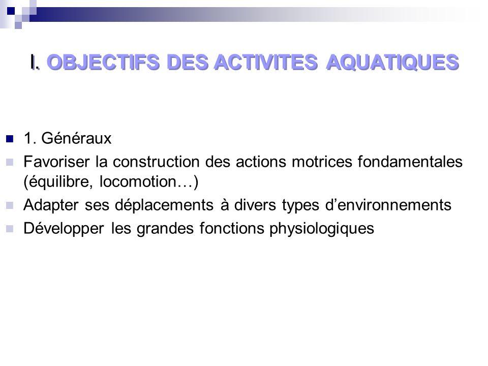 I. OBJECTIFS DES ACTIVITES AQUATIQUES 1.