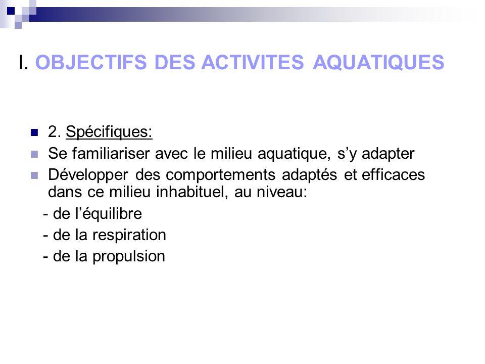 I. OBJECTIFS DES ACTIVITES AQUATIQUES 2.