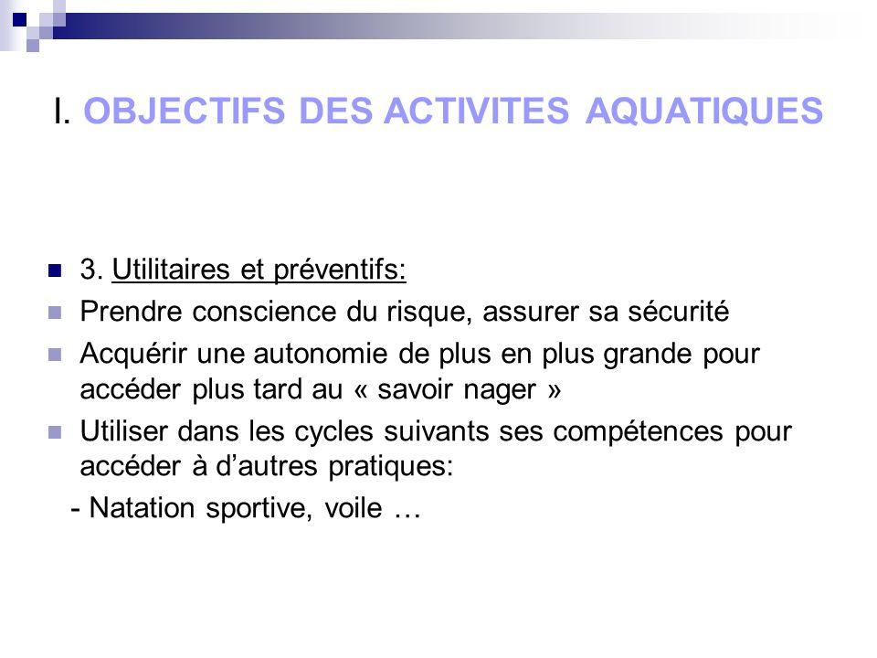 I. OBJECTIFS DES ACTIVITES AQUATIQUES 3.