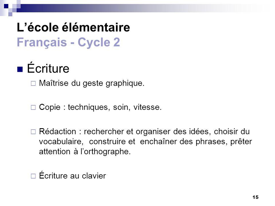 15 Lécole élémentaire Français - Cycle 2 Écriture Maîtrise du geste graphique. Copie : techniques, soin, vitesse. Rédaction : rechercher et organiser