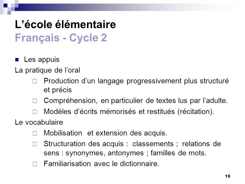 16 Lécole élémentaire Français - Cycle 2 Les appuis La pratique de loral Production dun langage progressivement plus structuré et précis Compréhension