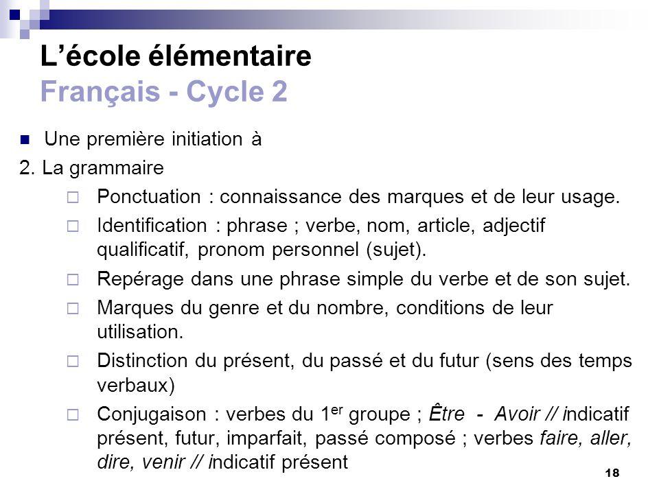 18 Lécole élémentaire Français - Cycle 2 Une première initiation à 2. La grammaire Ponctuation : connaissance des marques et de leur usage. Identifica