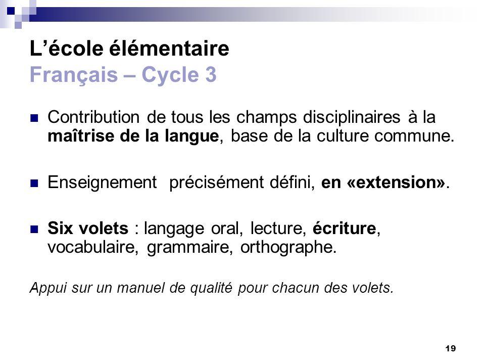 19 Lécole élémentaire Français – Cycle 3 Contribution de tous les champs disciplinaires à la maîtrise de la langue, base de la culture commune. Enseig