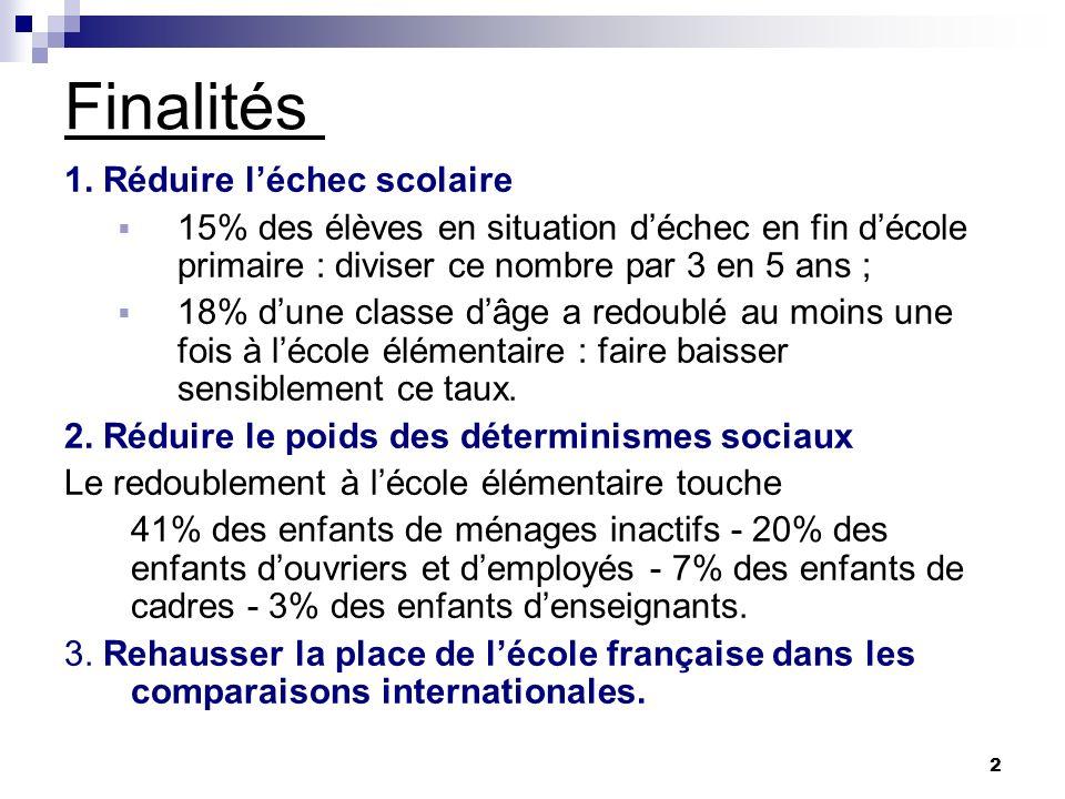 3 Les programmes de 2008 Principes ayant présidé à leur élaboration 1.