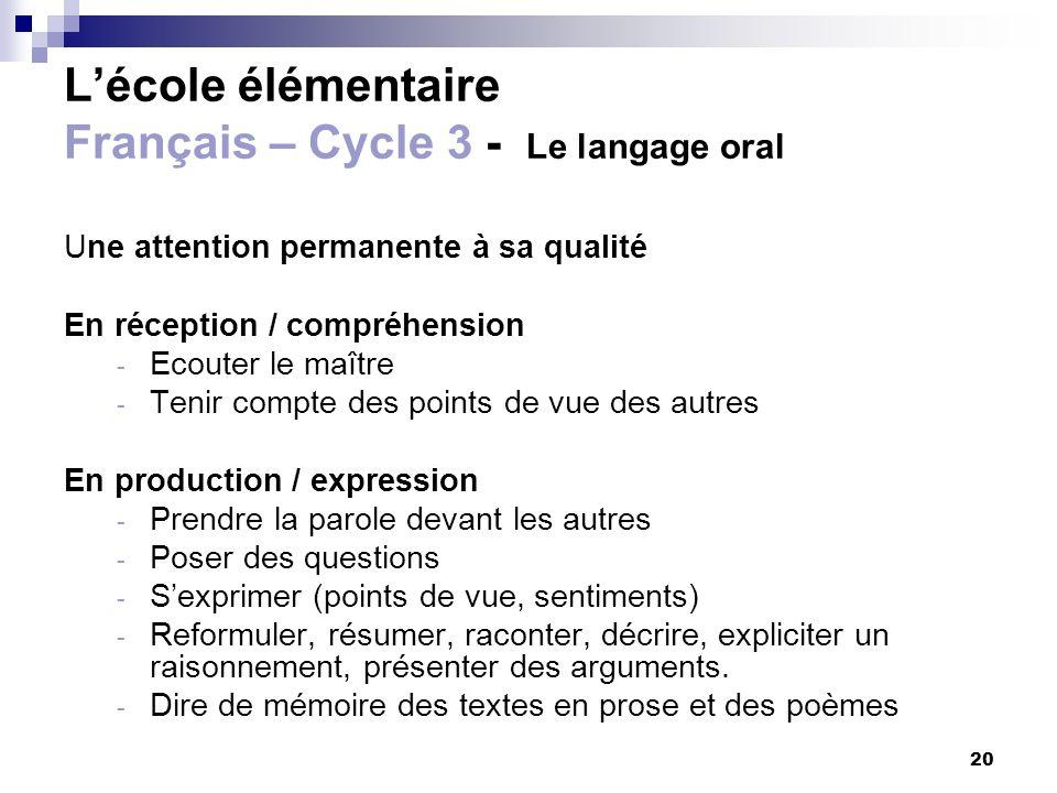20 Lécole élémentaire Français – Cycle 3 - Le langage oral Une attention permanente à sa qualité En réception / compréhension - Ecouter le maître - Te