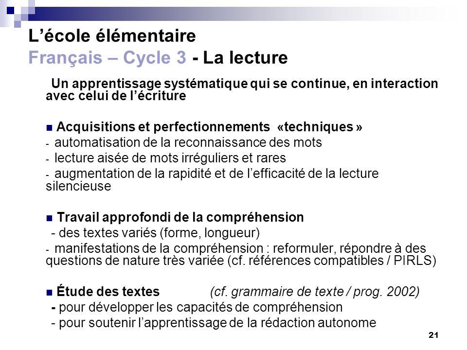21 Lécole élémentaire Français – Cycle 3 - La lecture Un apprentissage systématique qui se continue, en interaction avec celui de lécriture Acquisitio