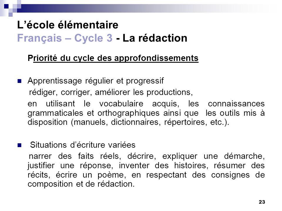 23 Lécole élémentaire Français – Cycle 3 - La rédaction Priorité du cycle des approfondissements Apprentissage régulier et progressif rédiger, corrige