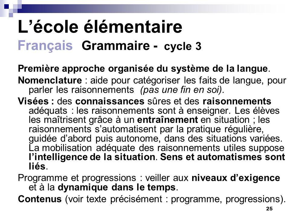 25 Lécole élémentaire Français Grammaire - cycle 3 Première approche organisée du système de la langue. Nomenclature : aide pour catégoriser les faits
