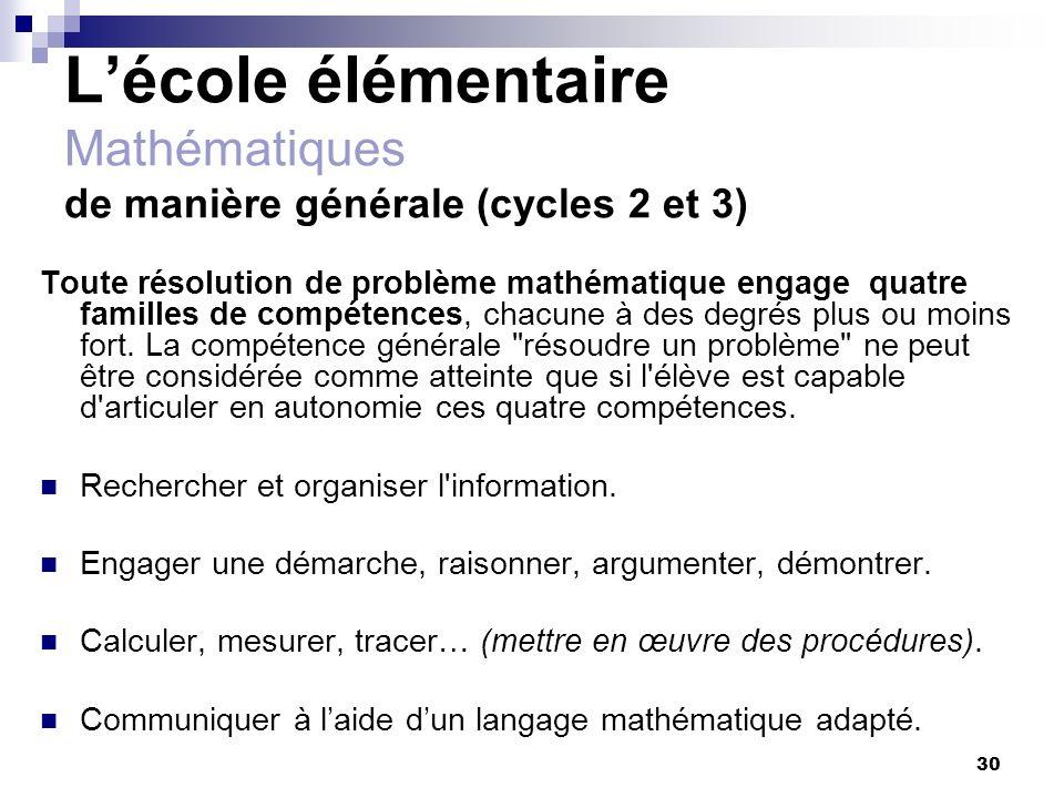 30 Lécole élémentaire Mathématiques de manière générale (cycles 2 et 3) Toute résolution de problème mathématique engage quatre familles de compétence