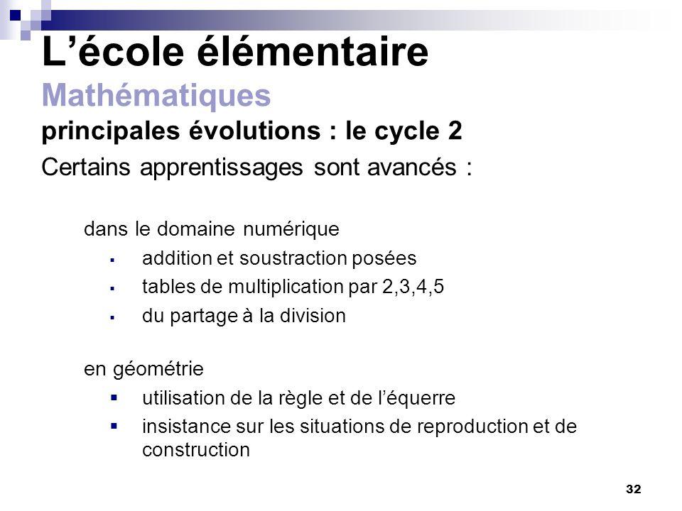 32 Lécole élémentaire Mathématiques principales évolutions : le cycle 2 Certains apprentissages sont avancés : dans le domaine numérique addition et s